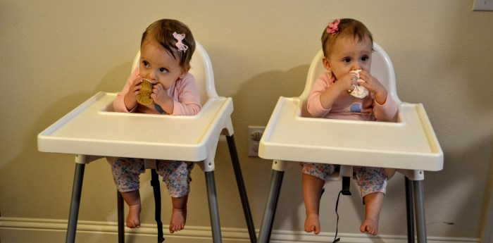 Twin girls eating cupcakes for their first birthday