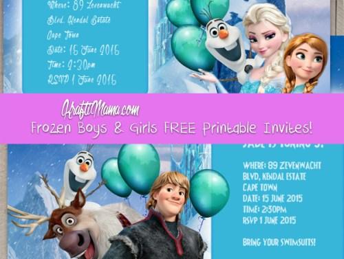 Frozen Boys & Girls FREE Printable Party Invites!