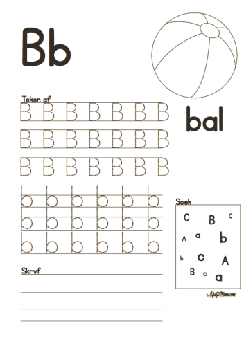 Leer Alfabet, Afrikaans, B