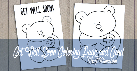 Get Well Soon Printable Card and Coloring Page  KraftiMama