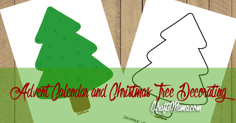 Christmas Tree Decorating Coloring Page and Advent Calendar Printable