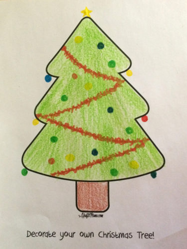 KraftiMama Free Printable Coloring Christmas Tree Decorating