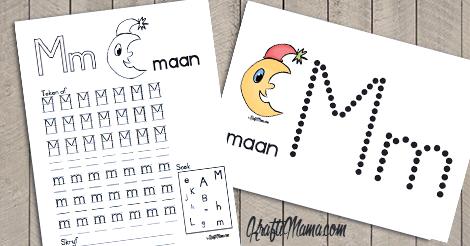 KraftiMama Free Printables, Afrkaans Alfabet, M, Maan