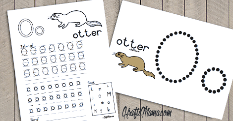 KraftiMama Free Printables, Afrkaans Alfabet, O, Otter