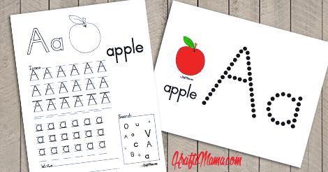 English Alphabet Printable Free A for Apple!