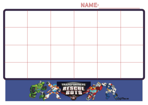 image regarding Free Printable Sticker Chart referred to as Sticker Chart Rescue Bots Cost-free KraftiMama