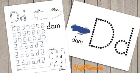 Alphabet Printable Free D for Dam