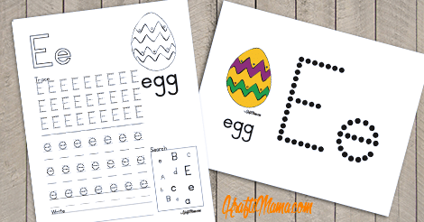 Alphabet Printable E for Egg FREE!