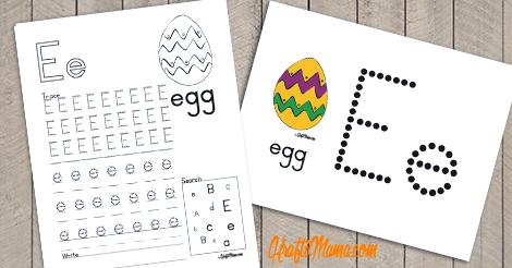 KraftiMama Free Printables, Alphabet, E for Egg