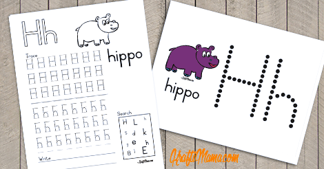 Alphabet Printable H for Hippo FREE!