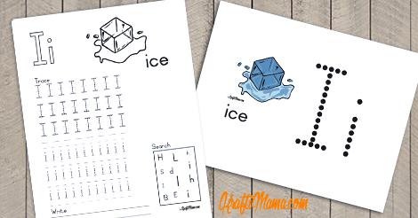 KraftiMama Free Printables, Alphabet, I for Ice