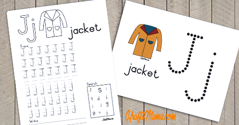 Alphabet Printable J for Jacket FREE!