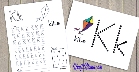 KraftiMama Free Printables, Alphabet, K for Kite