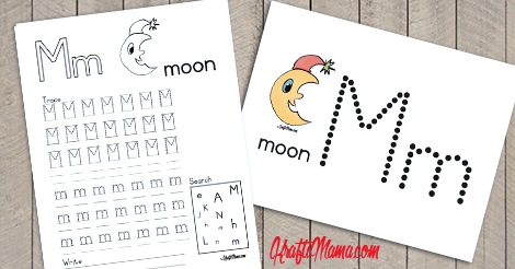 KraftiMama Free Printables, Alphabet, M for Moon