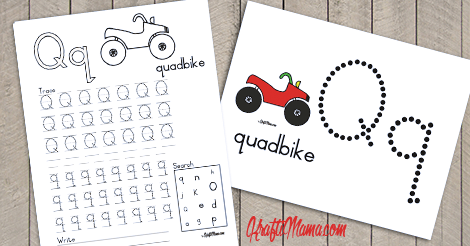 KraftiMama Free Printables, Alphabet, Q for Quadbike