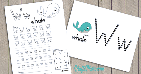 Alphabet Printable W for Whale FREE!