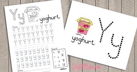 KraftiMama Free Printables, Alphabet, Y for Yoghurt