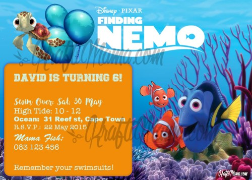 KraftiMama Free Printables, Birthday Party Invite, Finding Nemo, Finding Dory