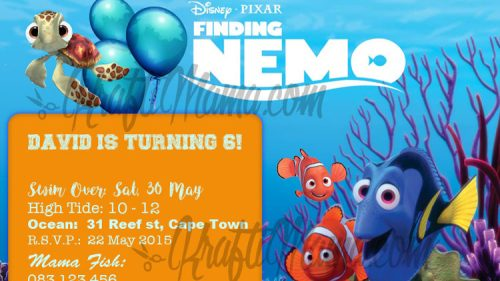 Free Printable Finding Nemo Birthday Party Invite.