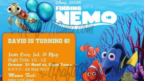 Free Printable Finding Nemo Birthday Party Invite.