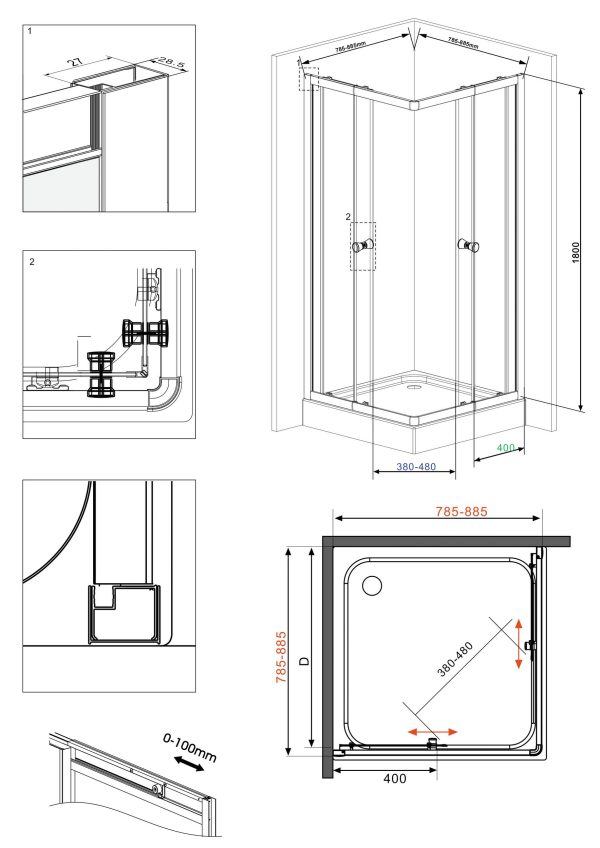WELLTIME TRENTO dušas stūris 90x90x180 2