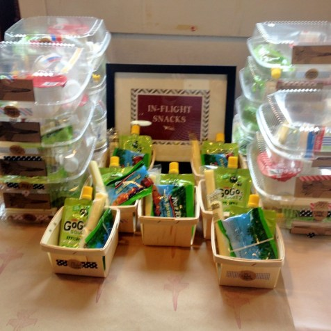 """In flight snacks and berry boxes with extra goodies. I've used these berry boxes so much! They are so practical and you can find them at """"Garnish"""""""