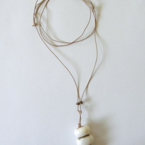Natural leather long necklace with beads from Kenya.