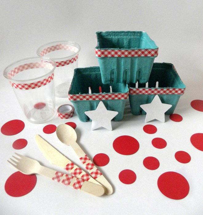 4th of July Party Ware DIY place settings and baskets