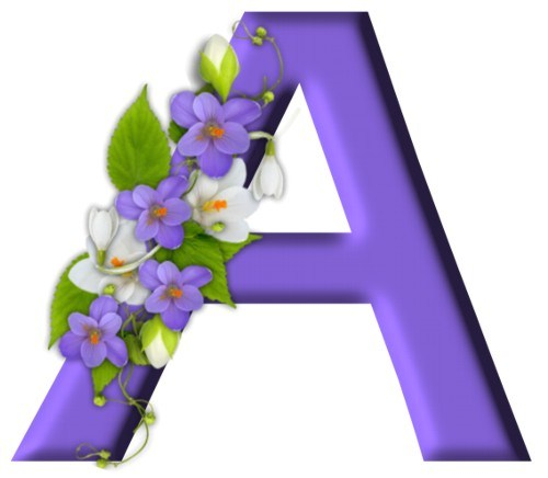 Український алфавіт з ніжними фіалками - Букви, цифри ...