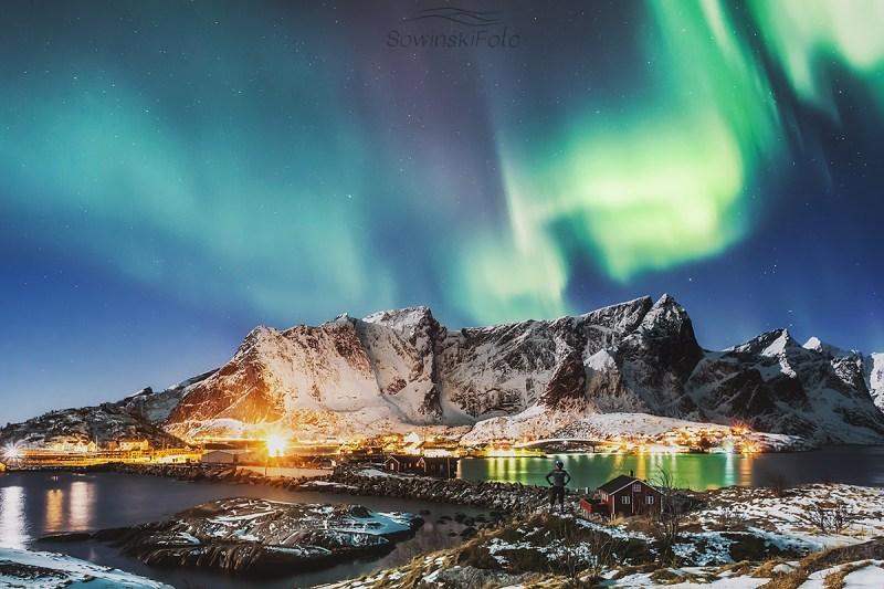 Zorza polarna Lofoty krajobraz