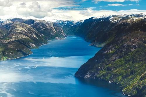 Krajobraz fiordy Norwegia