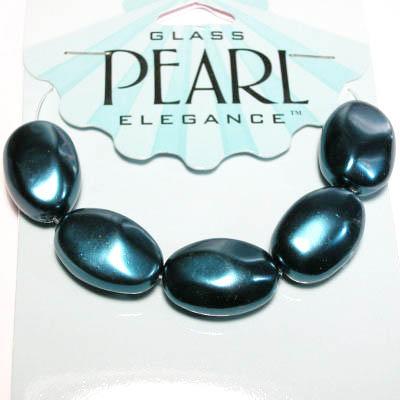 glasparels ovaal 14x20 mm teal blue
