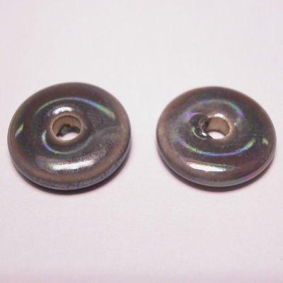 keramiek schijf parelmoer grijs 14 mm