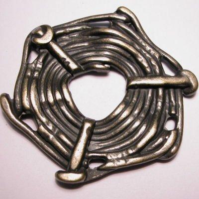 ethnic touw 6-oog oud goud 45x52 mm