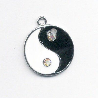 metalen yin yang met strass 31x27 mm