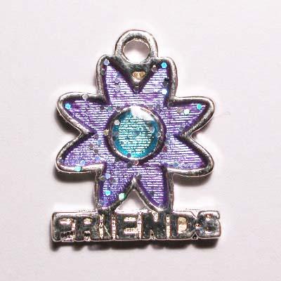 metalen bloem friends paars 18 x 15 mm