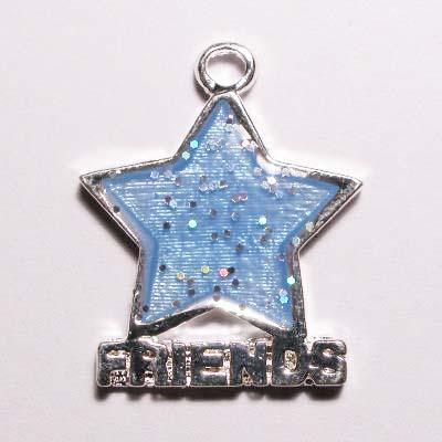metalen ster friends blauw 20 x 12 mm