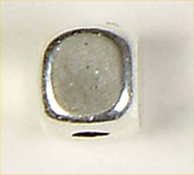 kraal verzilverd kubus 5 mm