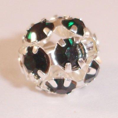metalen strass bol 8 mm smaragd groen