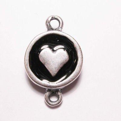 hartje 2-oog zilver zwart 16 mm