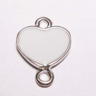 hart 2-oog emaille wit 16x22 mm