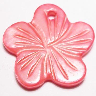 parelmoer hanger bloei fuchsia 18 mm