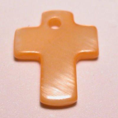 parelmoer hanger kruis oranje 12 mm