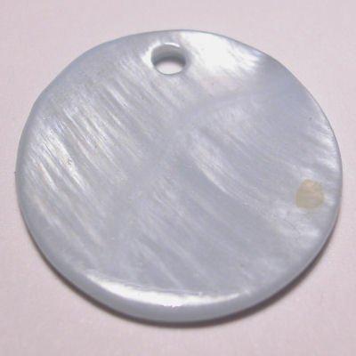 parelmoer hanger rond l.blauw 20 mm
