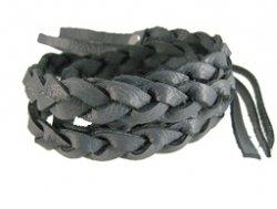 Gevlochten leren wrap armband grijs