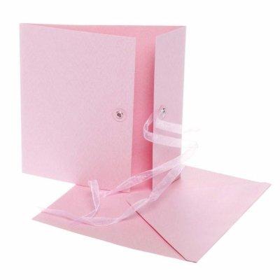 kaart met lint l.roze 12,5x12,5 cm