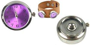 Easy button met klokje zilver/paars