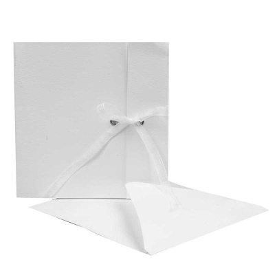 kaart met lint off-white 12,5x12,5 cm