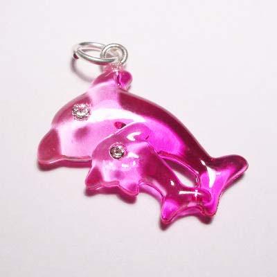 acryl dolfijnen roze 16x22 mm