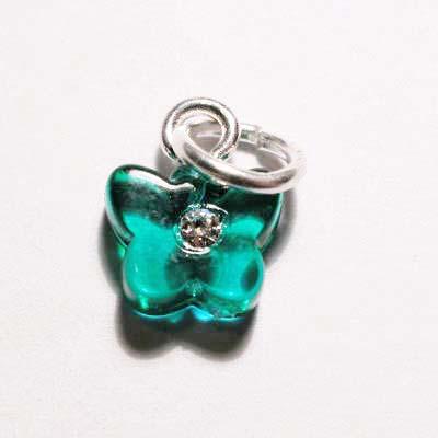 acryl vlindertje groen turkoois 7x8 mm